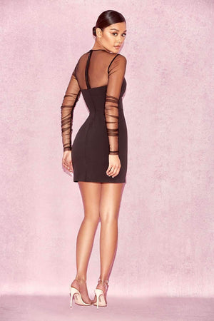 Off Shoulder See Through Bodycon Dress