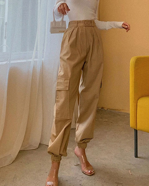 High Waist Straight Leg Cargo Trousers gallery 1