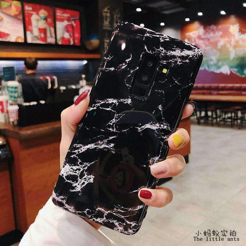 Anti-Fall Black&White Marble Phone Case for Samsung gallery 9