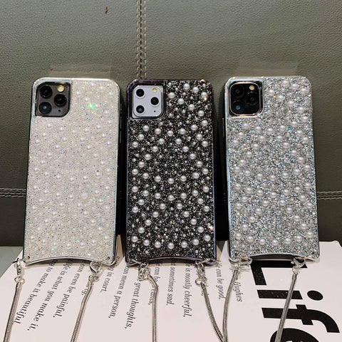 Sparkle Crystal Pearl Stud Phone Case for Samsung with Hand Strap gallery 9