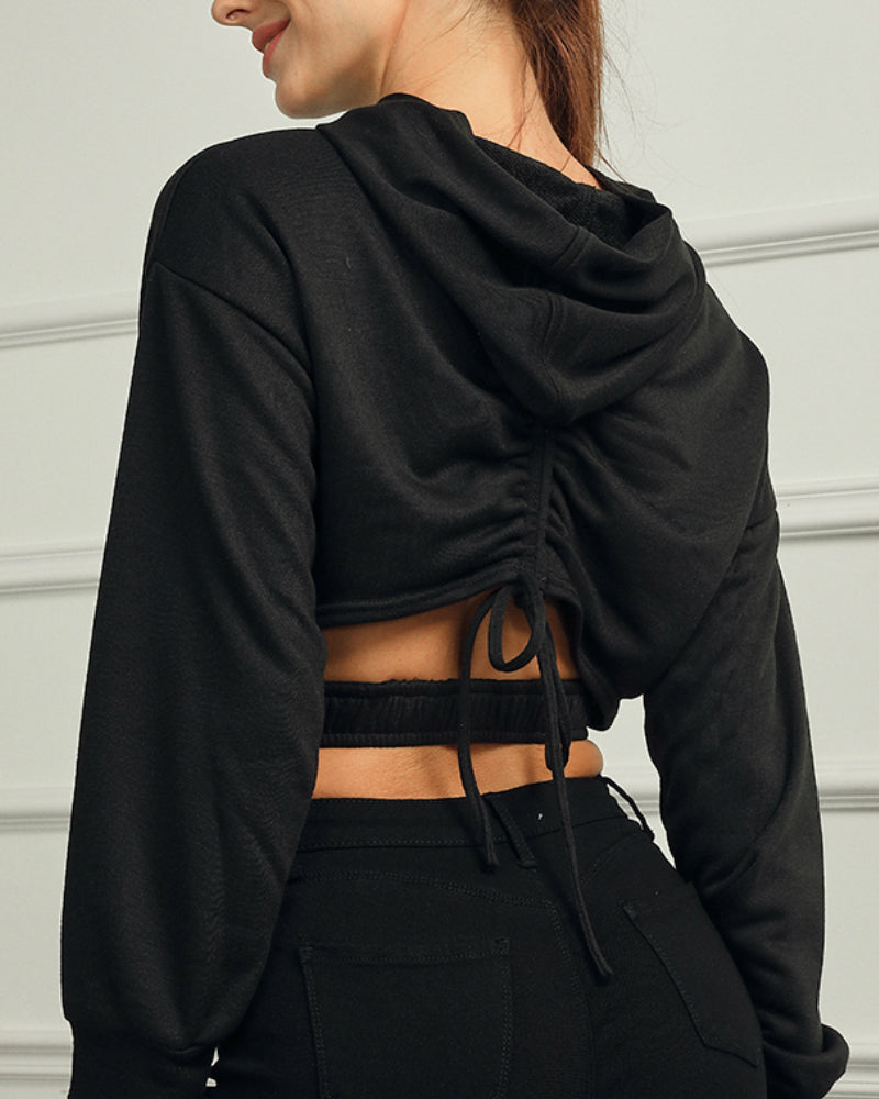 Cut Out Drawstring Back Crop Hoodie