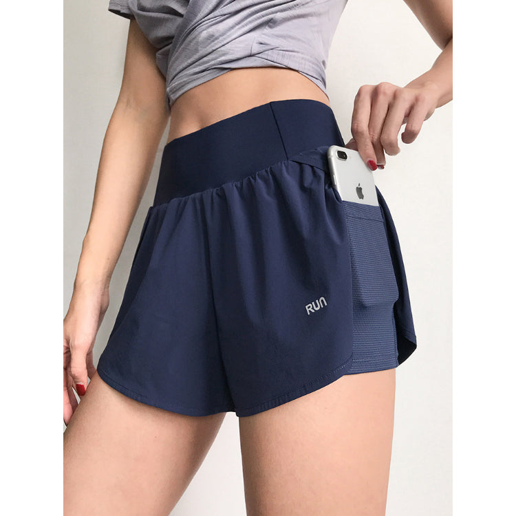 Pocket Patched Side Wide Waistband Sports Shorts