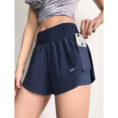 Pocket Patched Side Wide Waistband Sports Shorts gallery 1