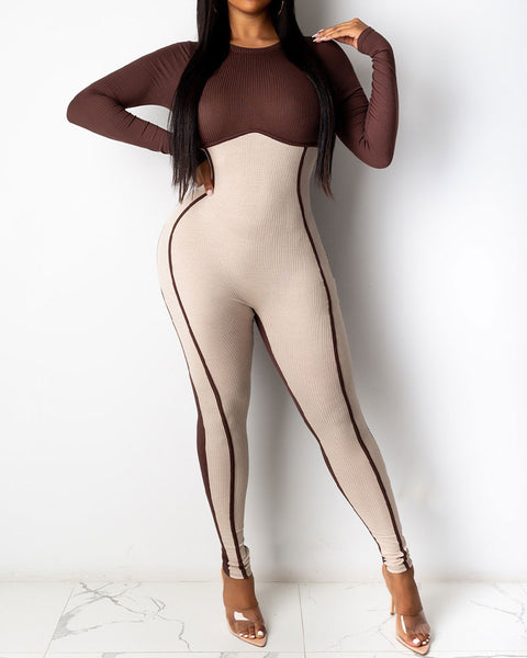 Colorblock Zipper Back Long Sleeve Skinny Jumpsuit