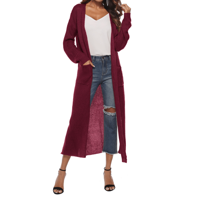 9 Colors Soft Longline Pocket Front Split Side Cardigan