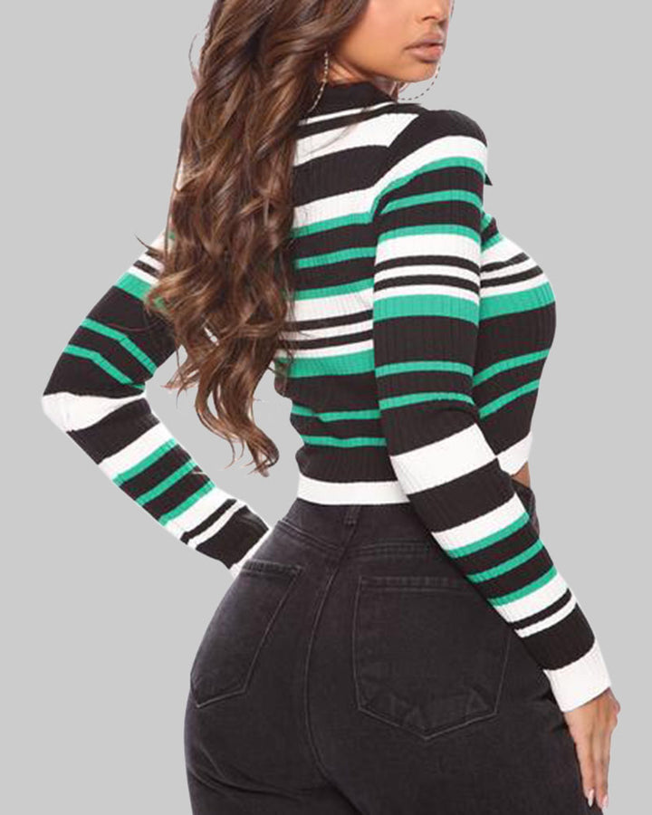 Striped Button Up Bodycon Crop Sweater gallery 7