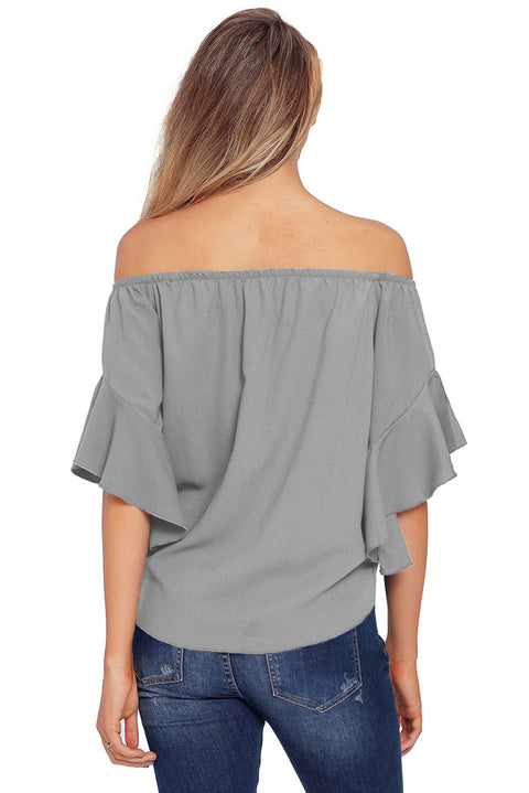 Gray Off The Shoulder Knot Front Top gallery 4