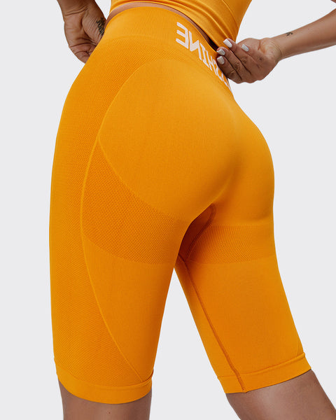 Letter Print Space Dye Seamless High Waist Sports Shorts gallery 1