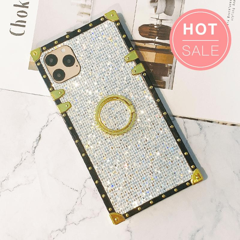 Luxury Blinking Square iPhone Case with Phone Holder