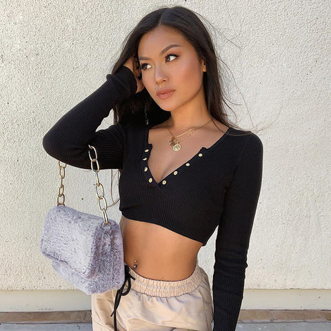 Popper Front Ribbed Cropped T-Shirt