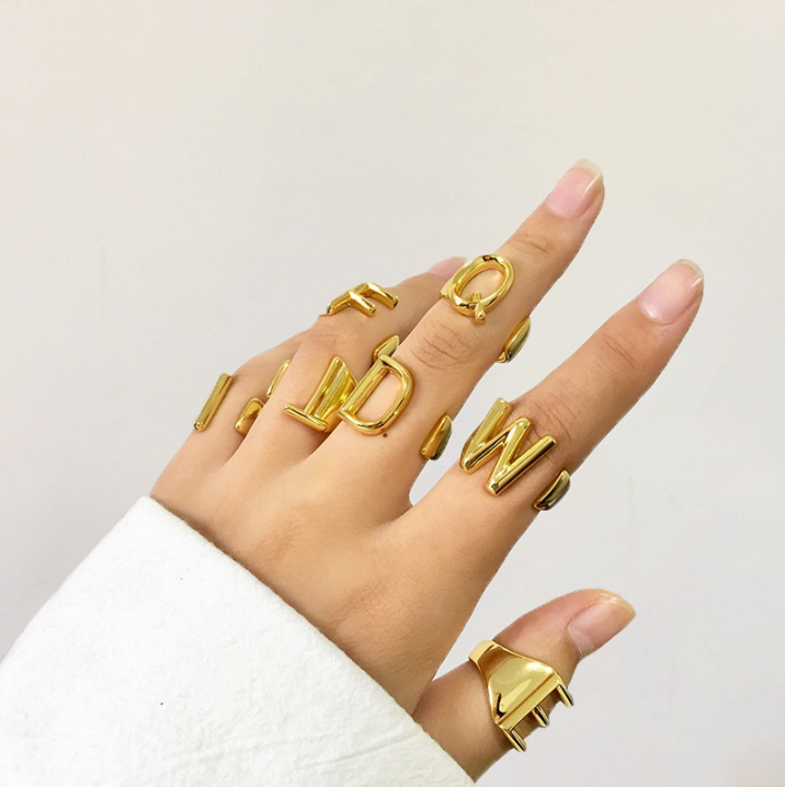 Gold Chunky Initial Shape Ring