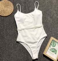 Solid Braided Belted Ribbed One Piece Swimsuit