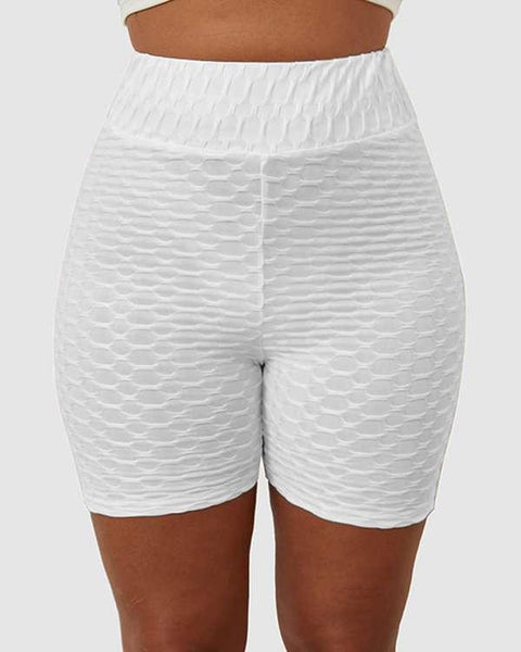 Solid Textured Hip Lifting Shorts gallery 3