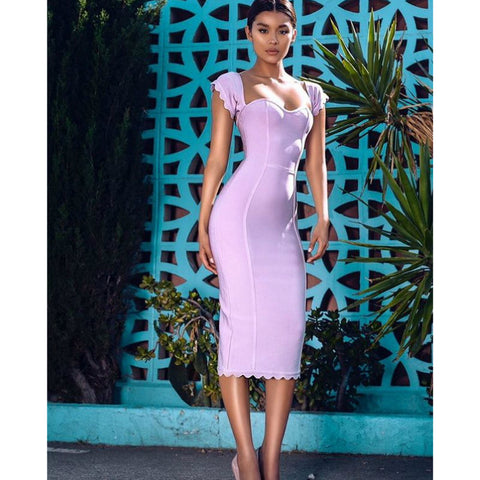 Sexy Square Neck Pale Pink Bandage Dress gallery 1
