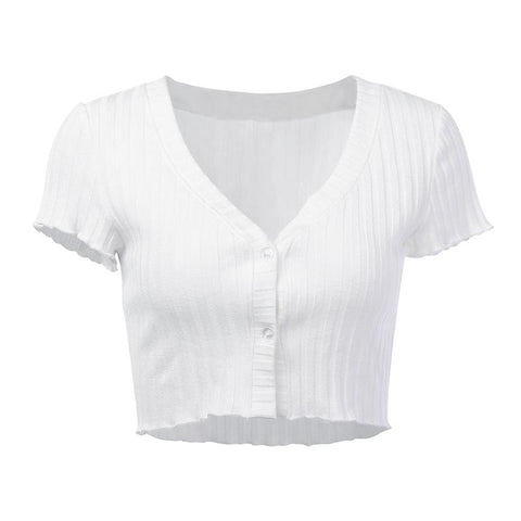 Casual V-Neck Ribbed Bust Button Crop Top gallery 5
