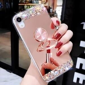 Luxury Bling Patchwork iPhone Case with Ring