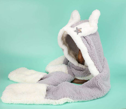 Women's Winter Rabbit Ear Fluffy Hat, Scarf, and Gloves Come in Three Pieces gallery 7
