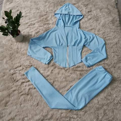 Corset Plunge Zippered Front Hooded Top & Pants Set gallery 8
