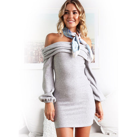 Solid Color Bardot Puff Sleeve Knitted Dress