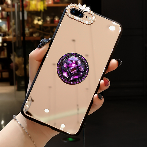 Mirror Rhinestone Side Phone Case for Samsung with Phone Holder gallery 4