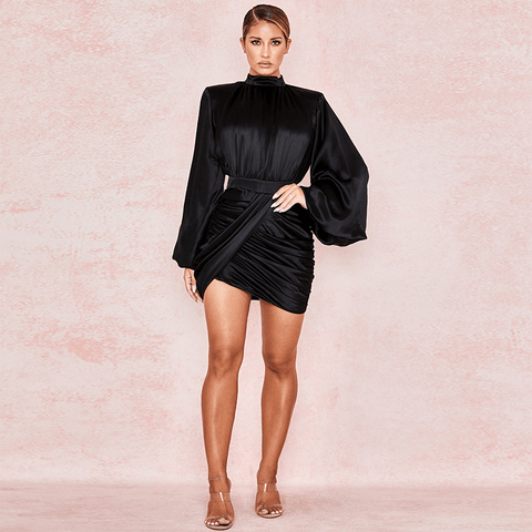 Black High Neck Puff Sleeve Ruched Satin Bodycon Dress