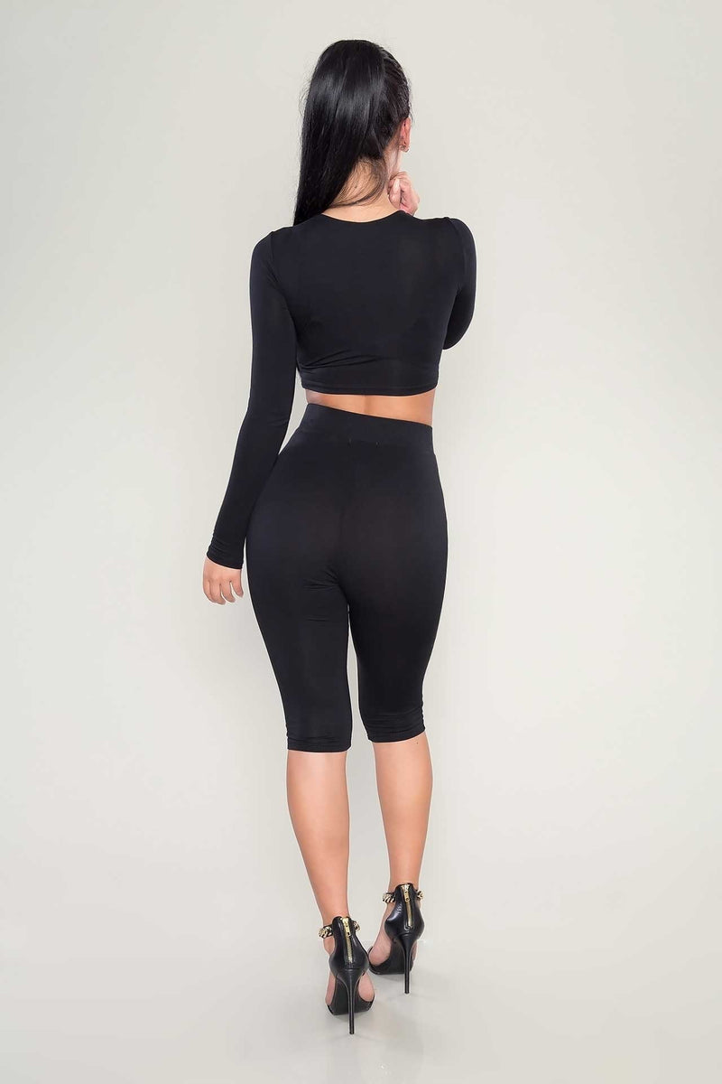 Round Neck Long Sleeve High Waist Cropped Top & Pant Set