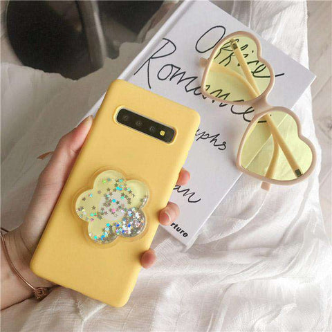 Solid Color Liquid Bling Glitter Flower Samsung Case
