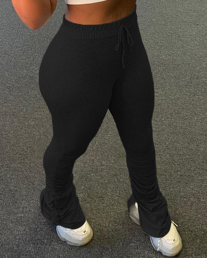 Drawstring Waist Form Fitting Split Stacked Pants  gallery 4