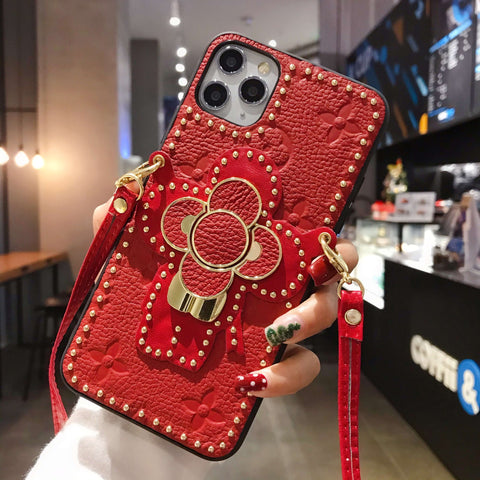 Luxury Leather Floral Pattern Rhinestone Detail iPhone Case with Phone Holder and Hand Strap