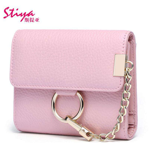 Korean Style Short Sized Cow Leather Wallet With Chain And Ring Elements gallery 7
