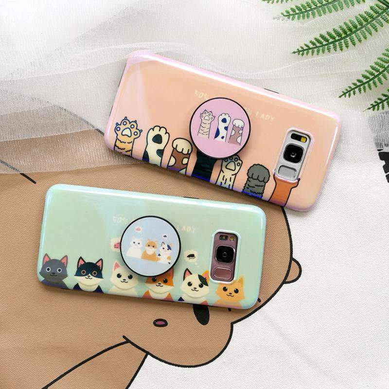 Cute Cat Soft Phone Case With Phone Holder For Samsung Phone