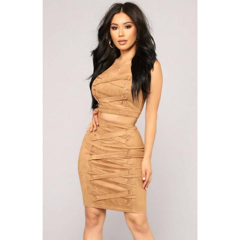 Sexy Tie Detail Suede Bandeau & Skirts Set