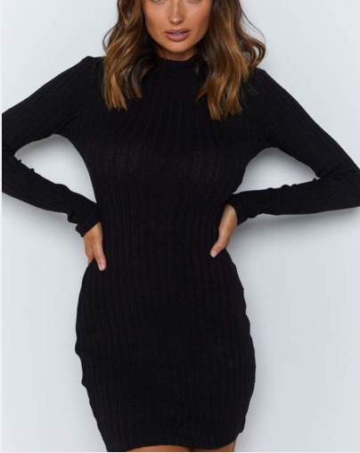 Claccic Solid Rib-Knit Backless Mini Dress