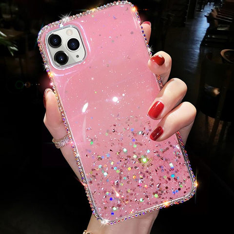 Clear Flowing Glitter Rhinestone Deco Phone Case for Samsung gallery 5