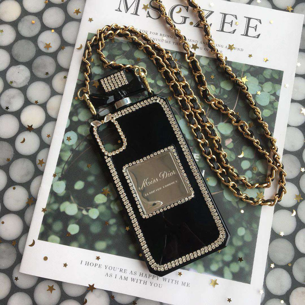Luxury Perfume Design iPhone Case with Leather Strap