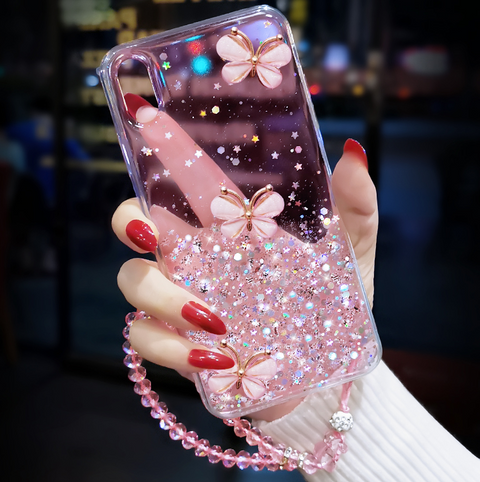 Sparkle Liquid Rhinestone Butterfly Phone Case for Samsung gallery 2