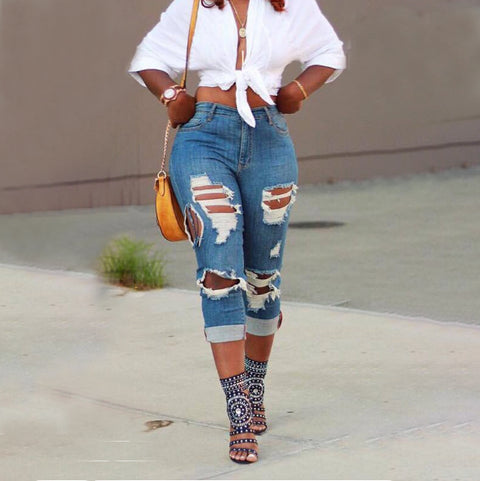 High Waist Extreme Distressed Oversize Jeans