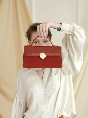 Women's Vintage Red Velvet Patent Leather Crossbody Bag