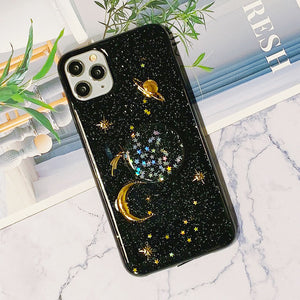 Luxury Transparent Golden Starry Night Pattern Soft iPhone Case with Phone Holder