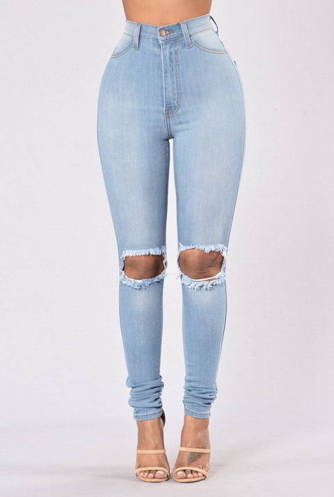 High Waist Knee Ripped Button Up Jeans gallery 9