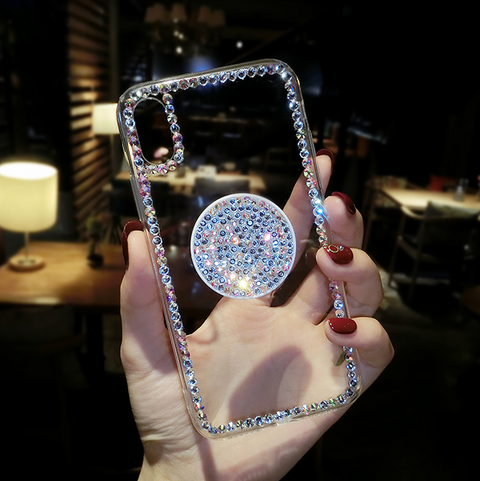 Luxury Small Rhinestone Trim Transparent Phone Case for Samsung with Phone Holder gallery 10