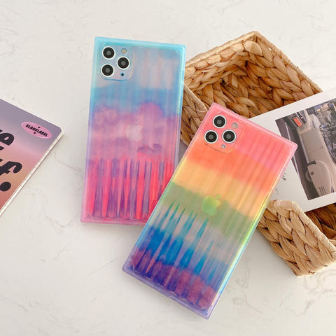 Chic Ombre Rainbow Print Square iPhone Case