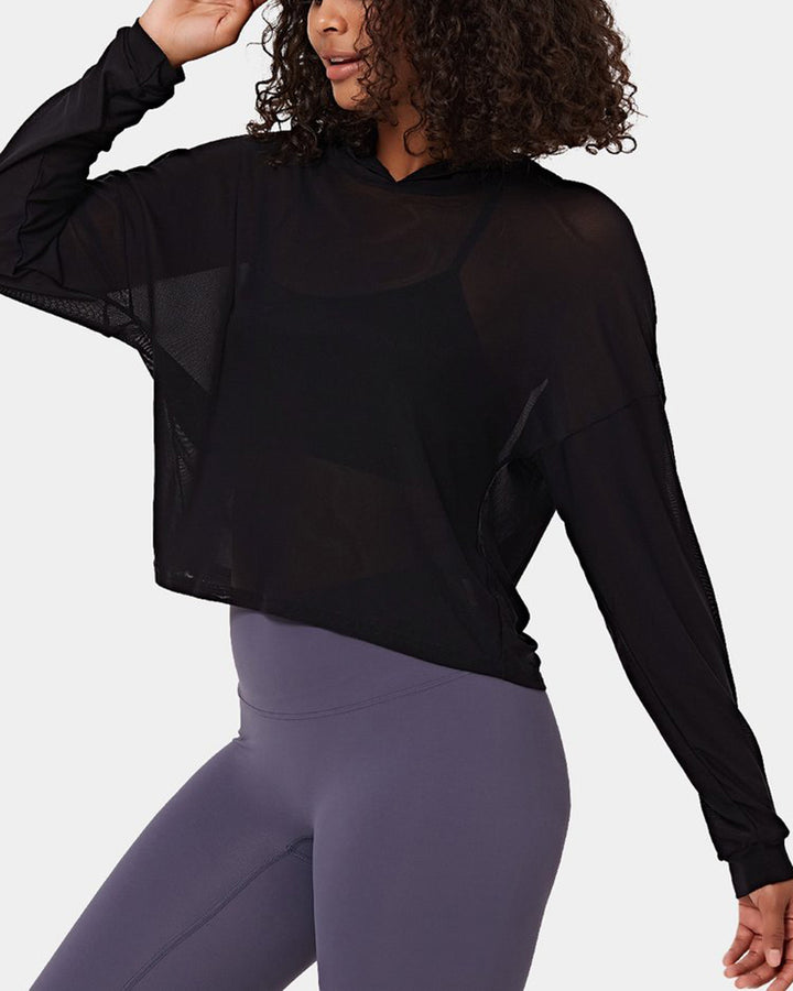 Mesh Sheer Hollow Out Sports Hoodie gallery 6