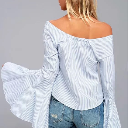Off Shoulder Striped Flared Sleeves Blouse gallery 3