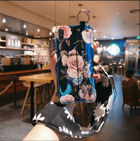 Retro Floral Pattern iPhone Case With Strap