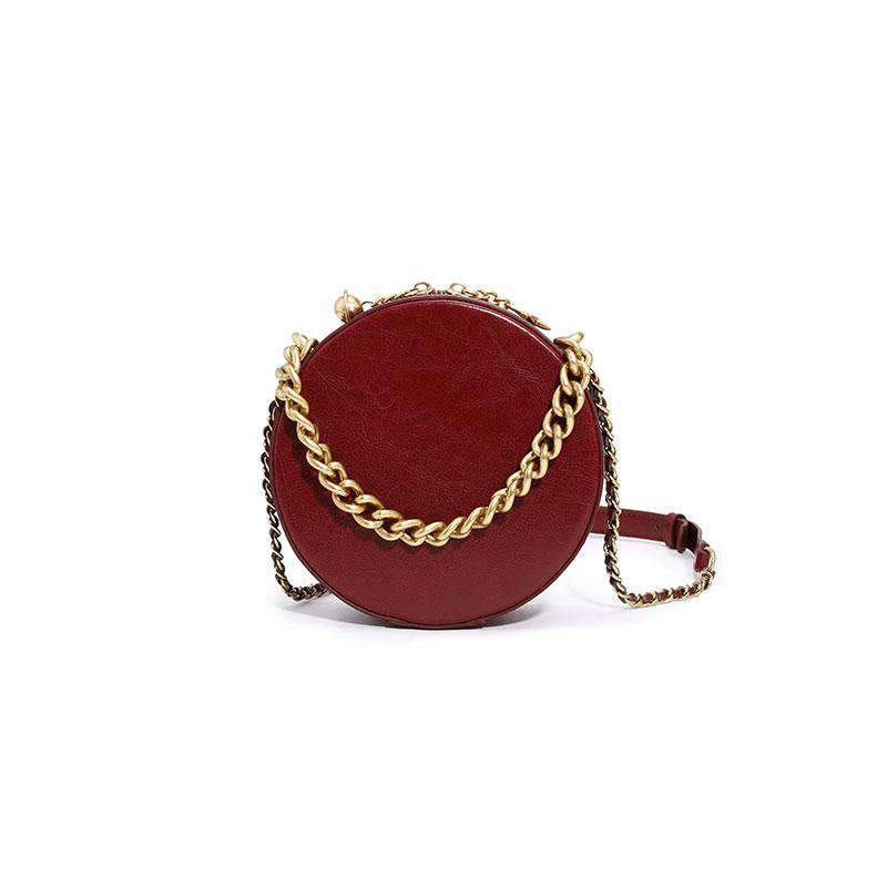 Elegance Quilted Leather Round Crossbody Bag Top-handle