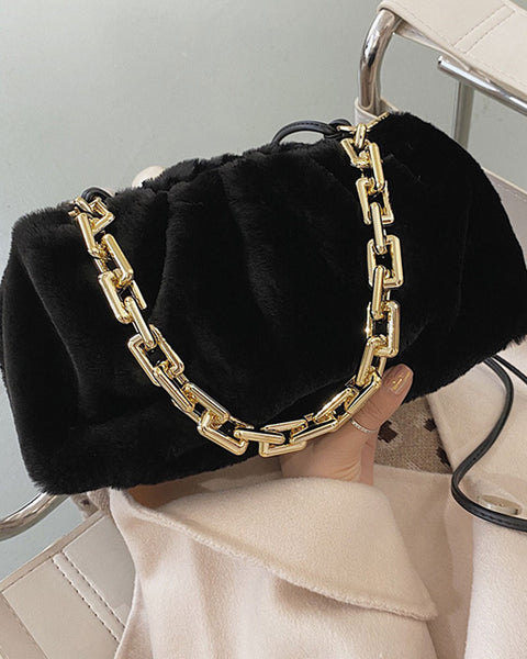 Ruched Fluffy Chain Bag
