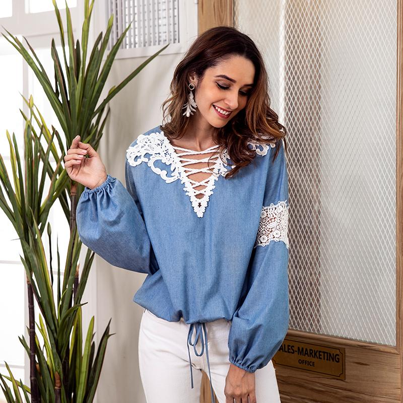 Denim Blue Blouse Lace Long Sleeve Shirt