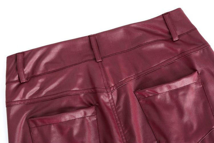 Solid Low Waist PU Leather Skinny Pants gallery 6