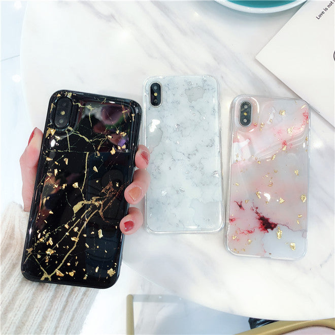 Chic Gold Sequins Decorated Marble Grains iPhone Case
